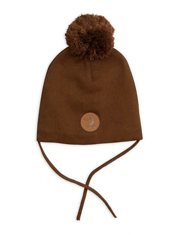 MINI RODINI PENGUIN HAT BROWN