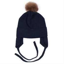 HUTTELIHUT ULD HUE W EAR FLAPS AND POMPOM NAVY