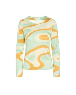 HOSBJERG LONG SLEEVE TOP GREEN WAVES
