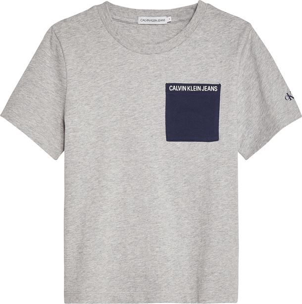 CALVIN KLEIN CONTRAST POCKET SS LIGHT GREY