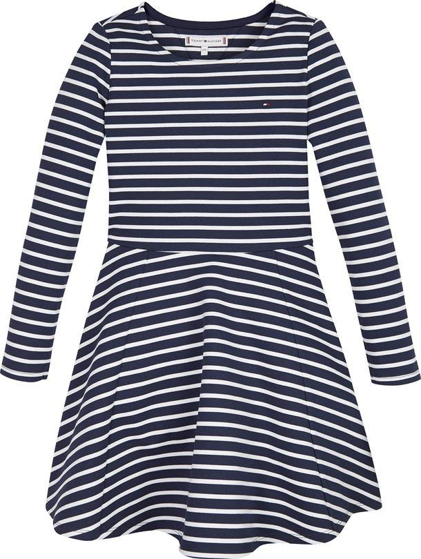 TOMMY HILFIGER ESSENTIAL STRIPE SKATER DRESS BLUE/WHITE