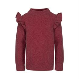 PETIT BY SOFIE SCHNOOR KNIT BLOUSE EARTH RED