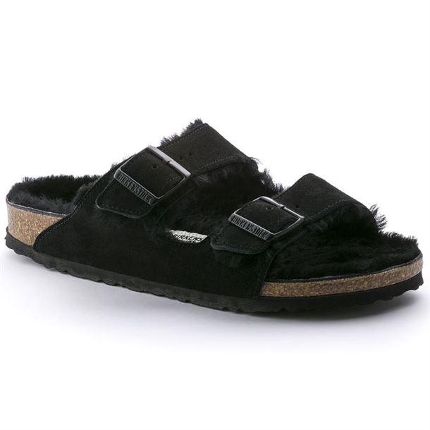 Fur Narrow Birkenstock Fit Arizona Black Nwv8nm0