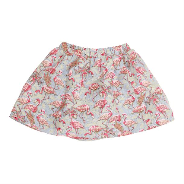 CHRISTINA ROHDE SKIRT LIGHT BLUE WITH PINK FLAMINGOS