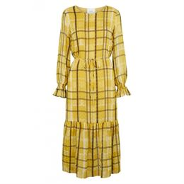 JUST FEMALE CHINIE MAXI DRESS PALE YELLOW CHECK